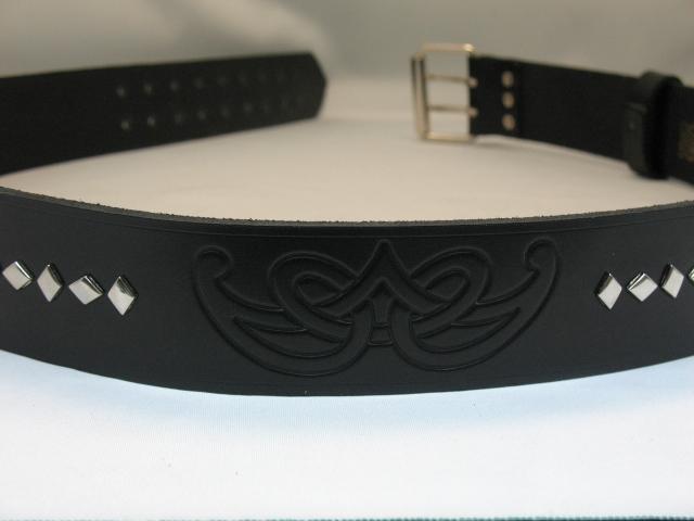 2″ Black Leather Belt Celtic Spiral Knot