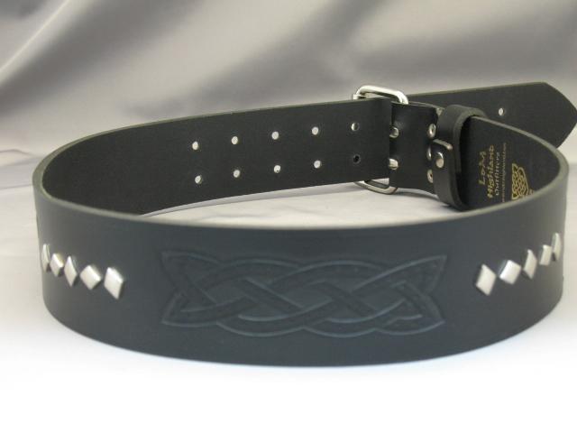 2″ Black Leather Belt Celtic Embossed Style