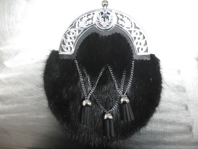 Black Muskrat/Gemstone Dress Sporran