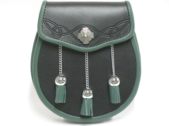 """The Celt"" Green Stone Leather Sporran With Embossing"