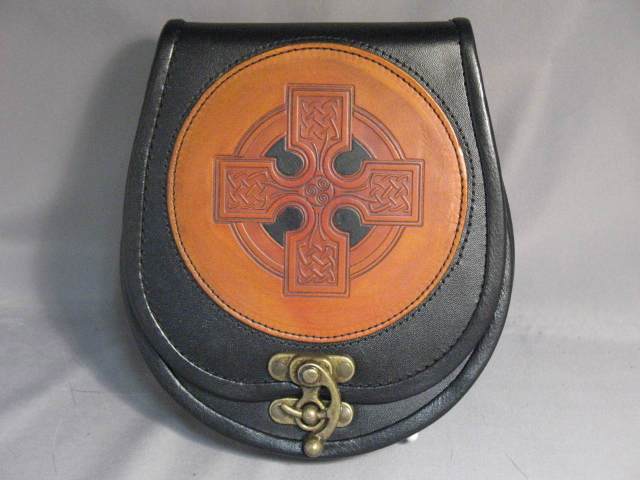 Celtic Cross Leather Sporran