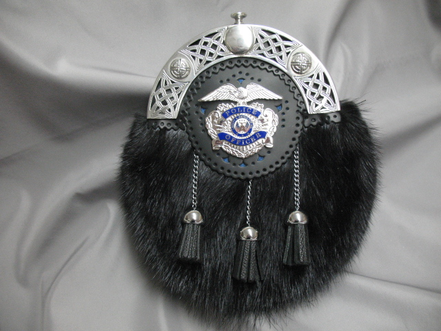 Police Dress Sporran, Black Muskrat