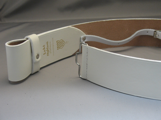 2 1/2″ White Leather Kilt Belt