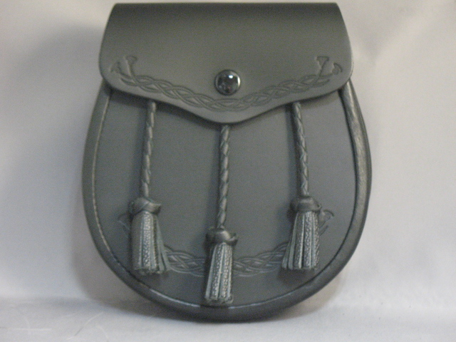 """Kilmarnock"" Embossed Thistles Leather Sporran"