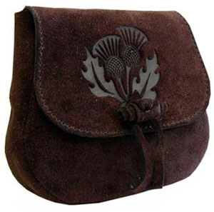 Leather Druid's Pouch – Thistle Design
