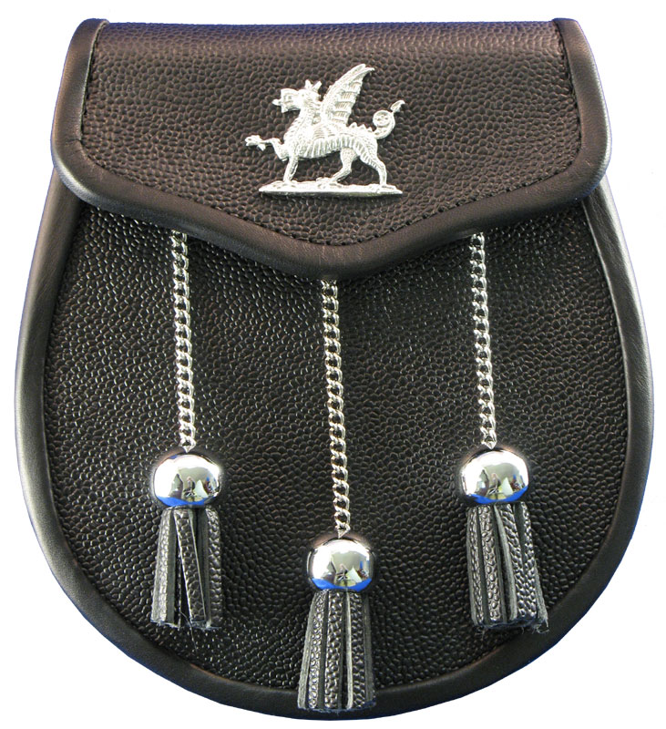 Welsh Dragon Leather Day Sporran